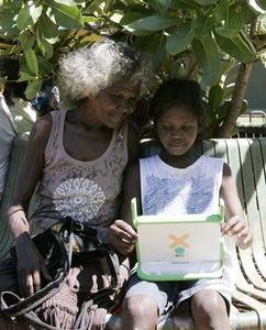 An Australian aboriginal school child works on a laptop computer as part of the ''One Laptop Per Child'' program in Elcho Island May 27, 2009. REUTERS/James Reagan