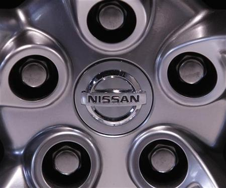 The wheel of a Nissan Motor Co car is pictured at a showroom in Tokyo May 12, 2009. REUTERS/Kim Kyung-Hoon