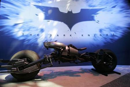 Warner Brothers unveils the Batcycle, called the Batpod in the film, for the upcoming movie ''The Dark Knight'' at the 2007 Licensing International Expo at New York's Javits Convention Center, June 19, 2007. REUTERS/Jamie Fine