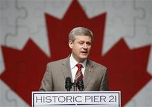<p>Prime Minister Stephen Harper announces the creation of a national immigration museum during a speech at Pier 21 in Halifax, Nova Scotia June 25, 2009. REUTERS/Paul Darrow</p>