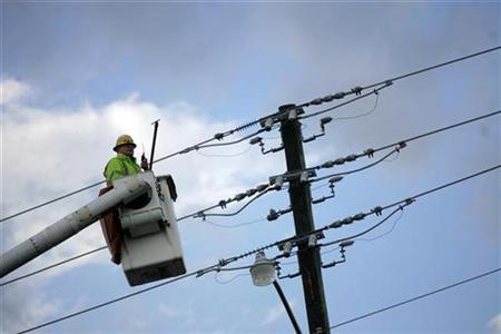 A Florida Power & Light Company employee works on a power pole in Pembroke Pines, Florida in this February 26, 2008 file photo. REUTERS/Eric Thayer