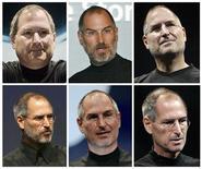 <p>Combinación de imágenes de archivo del presidente ejecutivo de Apple Inc, Steve Jobs. El presidente ejecutivo de la tecnológica estadounidense Apple, Steve Jobs, ya ha vuelto a trabajar tras una extensa licencia médica, dijo el lunes el portavoz de la firma. Agregó que el ejecutivo va al edificio de Apple algunos días a la semana y que el resto de los días trabaja desde su casa. La ausencia del Jobs, anunciada en enero, puso nerviosos a los inversionistas por el futuro de la firma ya que no veían un claro sucesor para el sobreviviente de cáncer. REUTERS/Archivos</p>
