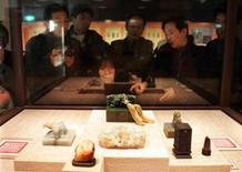 <p>File image shows some samples of Chien Lung jade carvings at the National Palace Museum in Taipei. REUTERS/Richard Chung</p>