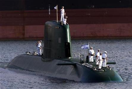 An Israeli Dolphin-class submarine docks in a file photo. REUTERS/File