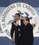 <p>Presidente dos Estados Unidos, Barack Obama, e primeiro-ministro da Itália, Silvio Berlusconi, no encontro do G8. 08/07/2009. REUTERS/Jim Young</p>