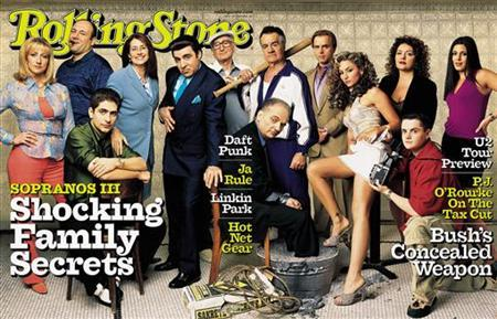 The entire cast of HBO's hit series ''The Sopranos'' is featured on this pull-out cover of the latest issue of Rolling Stone magazine, hitting newsstands March 9, 2001. REUTERS/HO Old
