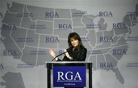 Governor Sarah Palin speaks during a Plenary Session at the 2008 Republican Governors Association Annual Conference in Miami November 13, 2008. REUTERS/Hans Deryk