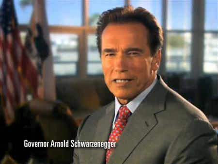 California governor Arnold Schwarzenegger is shown in this frame grab from a TV commercial as he appears in a 60-second spot which began airing July 14, 2009, stating he is in no mood to compromise on the state budget crisis. The commercial is from the group Stand for California. REUTERS/Stand for California/Handout