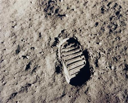 This NASA file image, dated July 20, 1969, shows one of the first footprints of Apollo 11 astronaut Edwin ''Buzz'' Aldrin on the moon. REUTERS/NASA/Handout