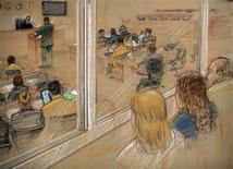 <p>In this photo of a sketch by a courtroom artist, and reviewed by the U.S. military, family members of victims of the September 11, 2001 attacks, (R) observe courtroom proceedings during hearings for the five alleged September 11 co-conspirators, inside the courthouse at the Camp Justice compound for the U.S. war crimes commission, at Guantanamo Bay U.S. Naval Base, July 16, 2009. REUTERS/Janet Hamlin/Pool</p>