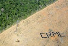 <p>Una protesta di Greenpeace contro la deforestazione dell'Amazzonia nel 2005 a Claudia, nello stato brasiliano del Mato Grosso. REUTERS/Bruno Domingos/Files</p>