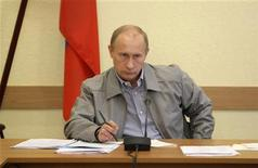 <p>Russian Prime Minister Vladimir Putin chairs a meeting in the town of Pikalyovo, in Leningrad region, about 270 kilometres (168 miles) from Russia's northern city of St.Petersburg, June 4, 2009. REUTERS/RIA Novosti/Pool/Alexei Nikolsky</p>