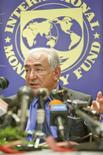 <p>International Monetary Fund (IMF) managing director Dominique Strauss-Kahn talks during a media briefing in Abidjan, Senegal, May 27, 2009. REUTERS/Eugene Salazar/IMF/Handout</p>