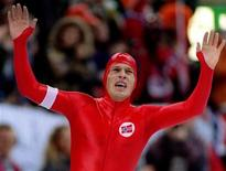 <p>Johann Olav Koss of Norway celebrates as he wins the 10,000 meters speed skating event of the Lillehammer Olympics at Hamar's Olympic Hall in this February 20, 1994 file photo. REUTERS/Ulli Michel/Files</p>