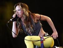 "<p>Actress and singer Juliette Lewis performs with her band at the time ""Juliette and the Licks"" during the Exit music festival in the northern Serbian town of Novi Sad July 12, 2008. REUTERS/Marko Djurica</p>"