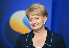 <p>Lithuanian President Dalia Grybauskaite holds a joint new conference with Swedish Prime Minister Fredrik Reinfeldt (not pictured) at Rosenbad, Prime Minister's office, in Stockholm July 16, 2009. REUTERS/Bertil Ericson/Scanpix</p>