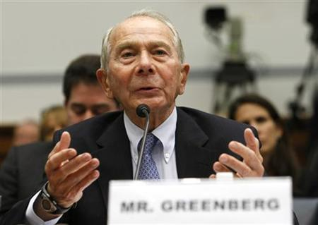 "Former American International Group (AIG) CEO Maurice Greenberg testifies before a House Oversight and Government Reform hearing on ""The Collapse and Federal Rescue of A.I.G. and What It Means for the U.S. Economy"" on Capitol Hill in Washington April 2, 2009. REUTERS/Kevin Lamarque"