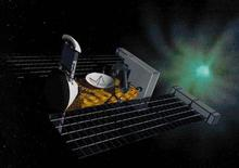 <p>An artist's drawing shows the Stardust spacecraft, which captured dust samples from the tail of comet Wild 2. REUTERS/handout</p>