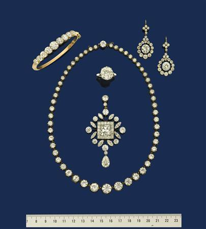 A selection of Elizabeth Charlton's diamond jewellery is seen in this undated handout photo. REUTERS/Woolley & Wallis Salisbury Salerooms/Handout