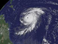 <p>Hurricane Bill is pictured moving in the Altantic Ocean in a satellite image taken August 19, 2009. REUTERS/NOAA/Handout</p>