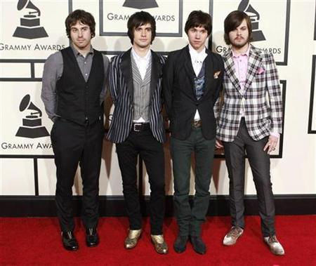 Members of the group Panic at the Disco arrive at the 50th Grammy Awards in Los Angeles February 10, 2008. REUTERS/Danny Moloshok
