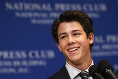 <p>Pop star Nick Jonas speaks about his journey with diabetes at the National Press Club in Washington August 24, 2009. Jonas was diagnosed with type 1 diabetes almost four years ago and has used his high profile to raise awareness of the disease and motivate young people like him to properly manage their condition. REUTERS/Kevin Lamarque</p>