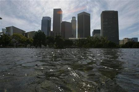 The reflecting pool at the Department of Water and Power is pictured in Los Angeles in this March 1, 2009 file photo. REUTERS/Mario Anzuoni/Files