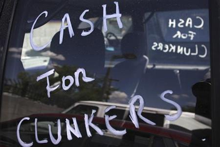 A clunker vehicle sits in a parking lot during the last day of the ''Cash For Clunkers'' auto rebate program at Courtesy Chevrolet dealership in Phoenix, Arizona August 24, 2009. REUTERS/Joshua Lott