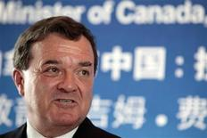 <p>Canada's Finance Minister Jim Flaherty speaks during a lunch in Shanghai August 14, 2009. REUTERS/Aly Song</p>