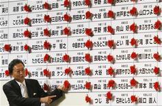 <p>Лидер оппозиционной Демократической партии Японии Юкио Хатояма позирует на фоне таблицы с результатами выборов в Токио 31 августа 2009 года. Демократическая партия победила в воскресенье на выборах в Японии, прервав длившееся более полувека правление либерал-демократов и получив подавляющее большинство мест в парламенте, что позволит примирить верхнюю и нижнюю палату законодательного органа страны. REUTERS/Issei Kato</p>