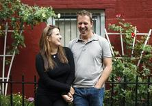 "<p>Colin Beavan and his wife Michelle Conlin, the subjects of a documentary titled ""No Impact Man"", pose for a portrait in New York August 28, 2009. REUTERS/Lucas Jackson</p>"
