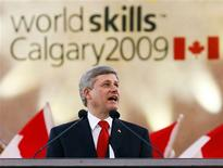 <p>Canadian Prime Minister Stephen Harper speaks at the opening ceremonies for the World Skills Competition in Calgary, September 1, 2009. REUTERS/Todd Korol</p>