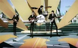 "<p>Cena do game ""The Beatles: Rock Band"" para XBox 360 é exibida durante a E3 2009.</p>"