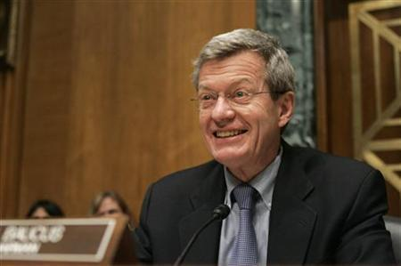 Senate Finance Committee Chairman Max Baucus (D-MT) addresses confirmation hearing for Ron Kirk to be U.S. trade representative before the U.S. Senate Finance Committee on Capitol Hill in Washington March 9, 2009. REUTERS/Hyungwon Kang