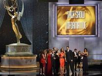 <p>Talk show host Tyra Banks and her creative team accept the emmy for outstanding talk show-informative at the 36th Annual Daytime Emmy Awards, August 30, 2009. REUTERS/Danny Moloshok</p>