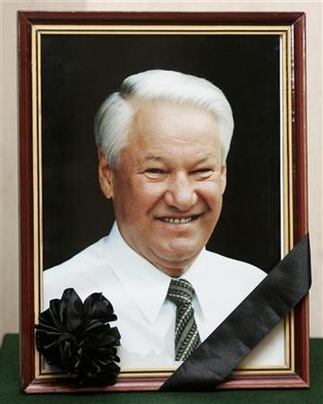 A picture of former Russian president Boris Yeltsin is seen with a black ribbon at the Russian embassy in Warsaw April 24, 2007. REUTERS/Katarina Stoltz