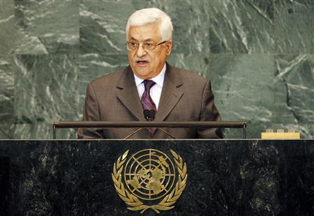President of Palestine Mahmoud Abbas addresses the 64th United Nations General Assembly at U.N. headquarters in New York, September 25, 2009. REUTERS/Mike Segar