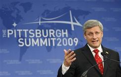 <p>Canada's Prime Minister Stephen Harper addresses a news conference at the end of the G20 Summit in Pittsburgh, Pennsylvania September 25, 2009. REUTERS/Chris Wattie</p>