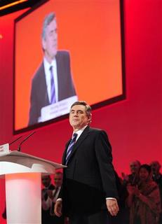 Prime Minister Gordon Brown delivers his speech at the Labour Party Conference, in Brighton September 29, 2009. REUTERS/Toby Melville