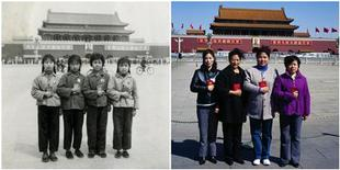 <p>This combination photo shows four schoolmates posing on Tiananmen Square in Beijing in 1970 (L), and them posing for the photo at the same location in 2009. REUTERS/Handout</p>