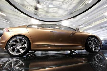 A new Volvo model car, S60, is displayed at the Shanghai International Auto show April 20, 2009. REUTERS/ Aly Song