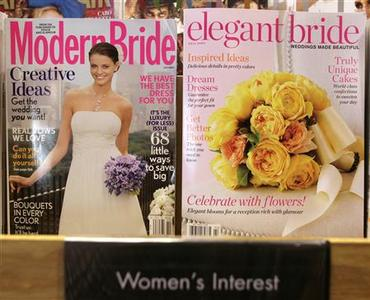 Modern Bride and Elegant Bride magazines are seen on display at a Borders bookstore in Washington October 5, 2009. REUTERS/Yuri Gripas