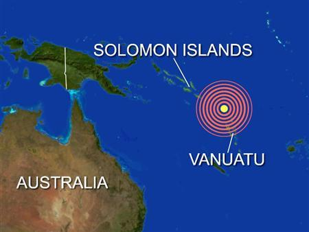 An 8.1 magnitude earthquake struck off the northwest of Santo, Vanuatu, the U.S. Geological Survey said on Wednesday. REUTERS/Graphics