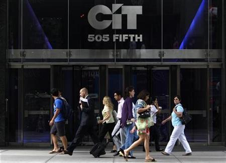 Pedestrians walk past the Cit offices in New York, July 13, 2009. REUTERS/Brendan McDermid