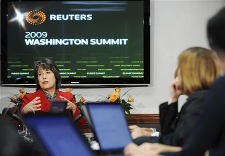 Chairman of the Federal Deposit Insurance Corporation (FDIC) Sheila Bair speaks with reporters during the 2009 Reuters Washington Summit in Washington October 21, 2009. REUTERS/Jonathan Ernst