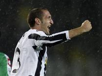 <p>Giorgio Chiellini comemora gol que deu vitória ao Juventus sobre o Macabi. REUTERS/Stefano Rellandini</p>