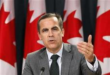 <p>Bank of Canada Governor Mark Carney speaks during a news conference upon the release of the Monetary Policy Report in Ottawa October 22, 2009. REUTERS/Chris Wattie</p>