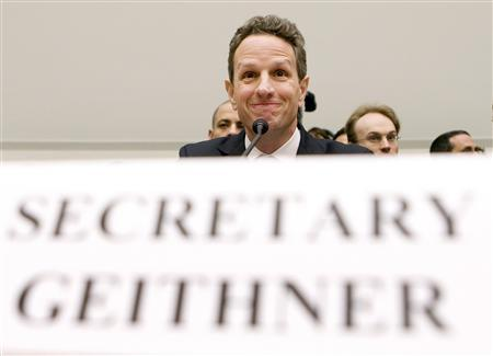Treasury Secretary Timothy Geithner testifies before the House Financial Services Committee on Capitol Hill in Washington, October 29, 2009. REUTERS/Larry Downing