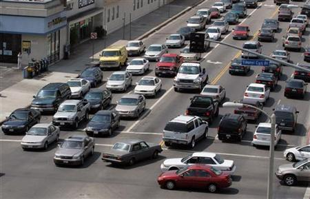 A traffic jam at a north Hollywood intersection in a file photo. REUTERS/Gene Blevins
