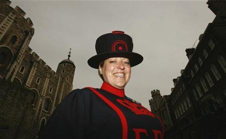 Yeoman Warder Moira Cameron, the first female Beefeater starts work at the Tower of London September 3, 2007. REUTERS/Luke MacGregor